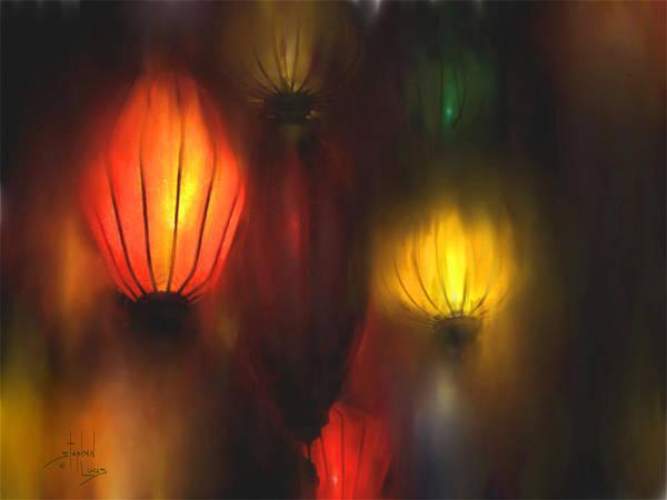 Lanterns Art Print featuring the painting Orange Lantern by Stephen Lucas