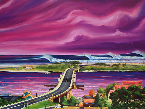 Surf Art Print featuring the painting The Hook by Ronnie Jackson