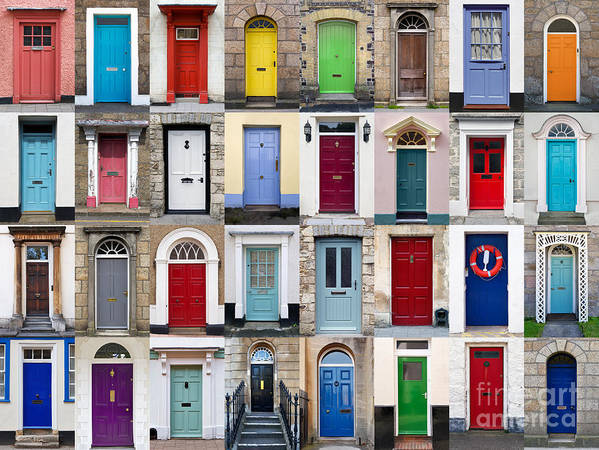 Door Print featuring the photograph 32 Front Doors Horizontal Collage by Richard Thomas