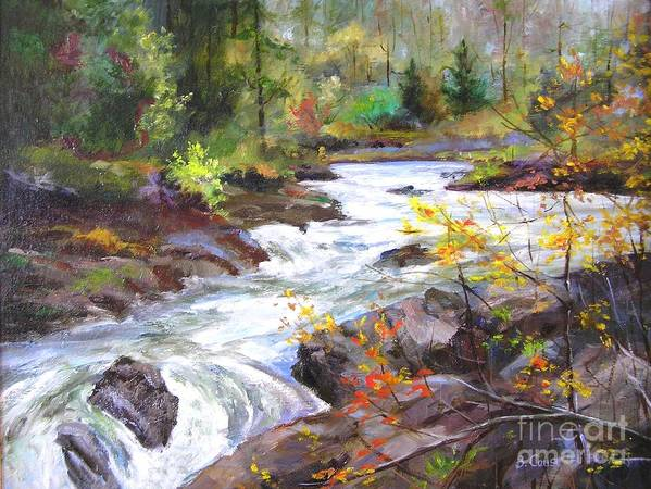 Landscape Art Print featuring the painting Autumn Along The Vermillion River by Barbara Couse Wilson
