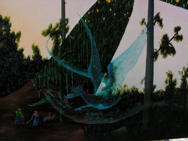 Dragon. Surreal Impressionism Art Print featuring the painting Blue Dragon-detail by Ivan Rijhoff