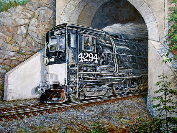 Train Art Print featuring the painting Cab Forward by Gary Symington