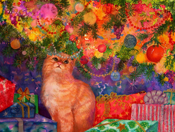 Kitty Art Print featuring the painting Christmas Kitty by Valerie Aune