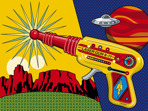 Toy Art Print featuring the digital art Laser Gun by Ron Magnes