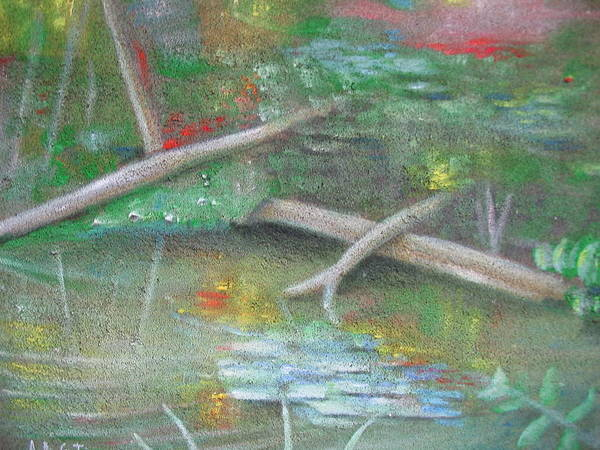 Water Landscape Art Print featuring the painting Log In The Pond by Alfredo DeCurtis