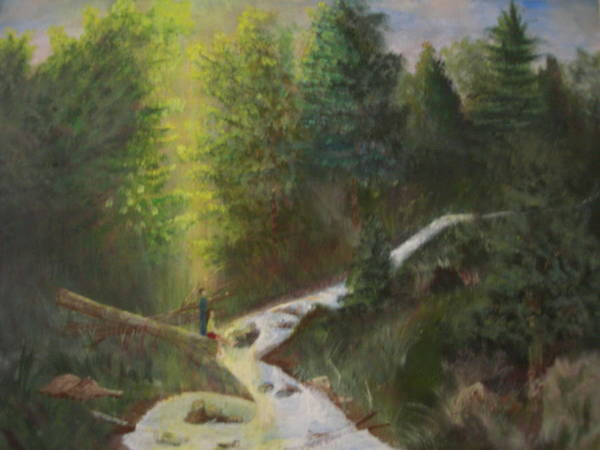 Landscape Art Print featuring the painting My Favorite Spot by Jack Hampton