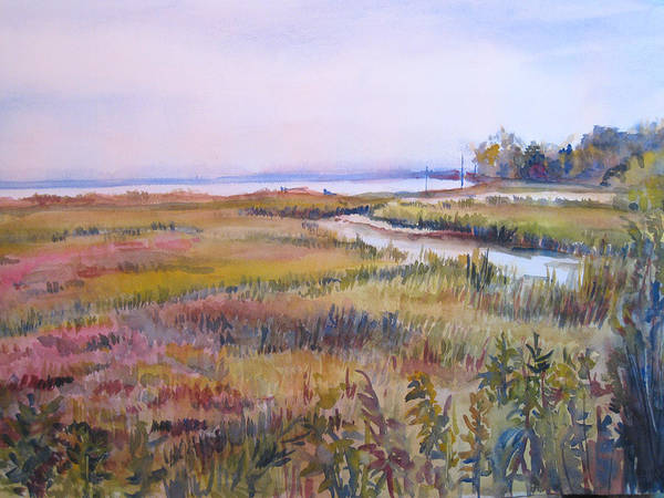 Watercolor Art Print featuring the painting North Fork Marsh by Joyce Kanyuk