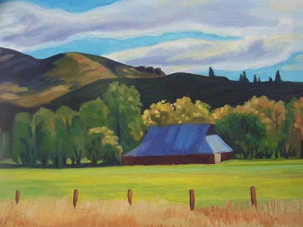 Barn. Trees Art Print featuring the painting Old Barn by Cynthia Riley