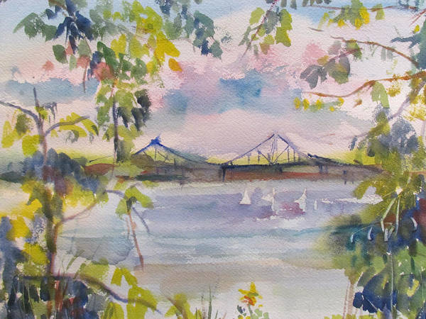 Water Art Print featuring the painting Painting In Nyack by Joyce Kanyuk