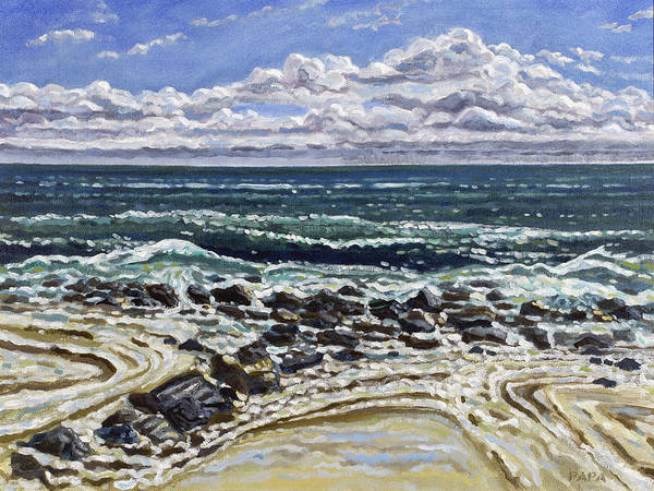 Ocean Art Print featuring the painting Patterns In The Sand by Ralph Papa