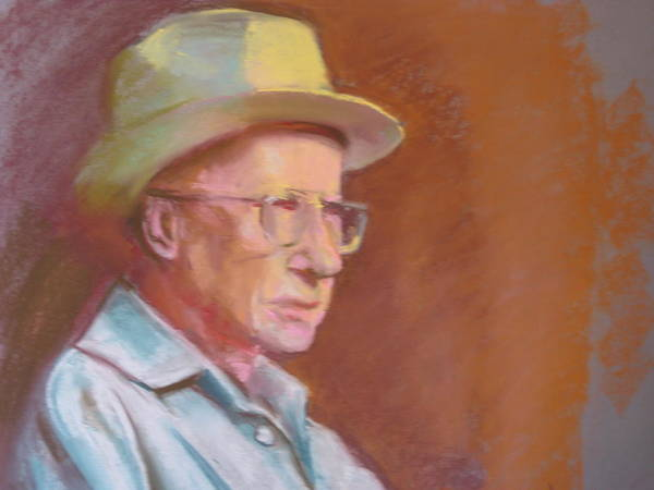 This Portrait In Pastel Of Farmer Brown In A Three-quarter Pose Was Created In Warm Light In The Studio. I Love His Expression Revealing The Many Years He Had Worked On His Local Farm. Art Print featuring the pastel Portrait Of Farmer Brown by Pamela Preciado
