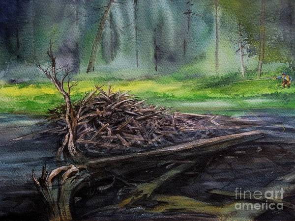 River Art Print featuring the painting Santuary by Ronald Tseng