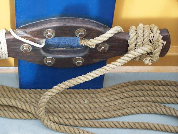 Rope Art Print featuring the photograph Ship Rope by Mark Cheney