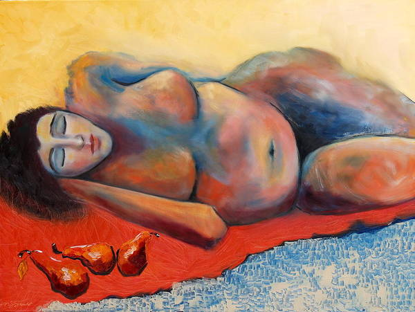 Nude Pears Woman Reclining Red Blue Yellow Art Print featuring the painting Siesta Desnuda by Niki Sands