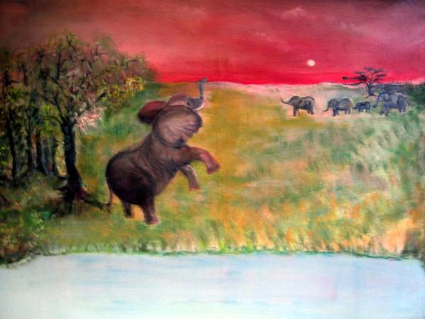 Wildlife Art Print featuring the painting The Calling - Elephants On The Serengeti by Michela Akers
