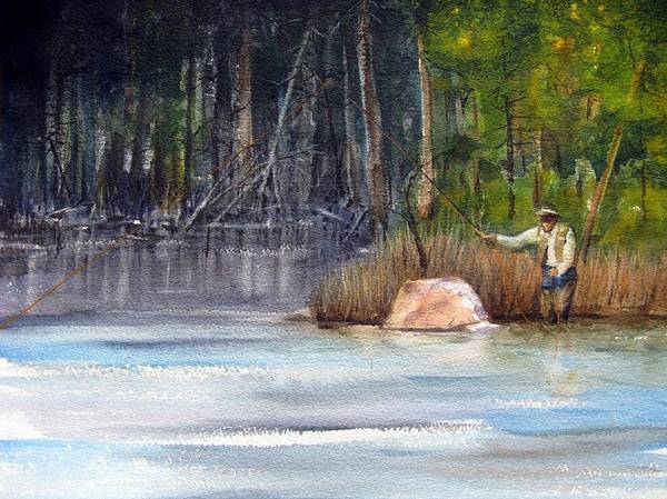 River Art Print featuring the painting The Drift by Ronald Tseng