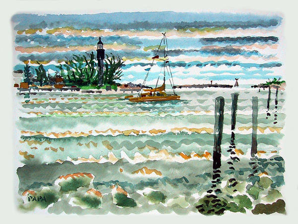 Lighthouse Art Print featuring the painting View Of Lighthouse Point by Ralph Papa