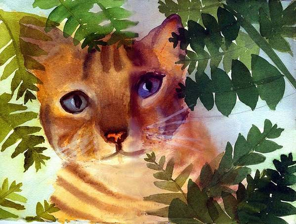 A Pet Cat Hides Behind Palms Art Print featuring the print Hide And Seek Cat by George Markiewicz