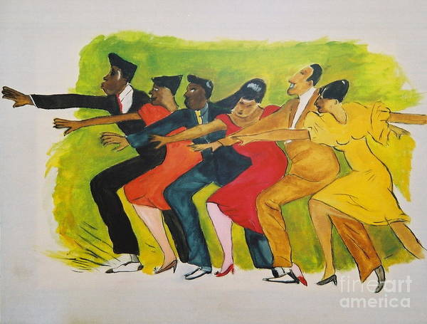 Dances From The 30's Art Print featuring the mixed media Dance Series1 0f 8-shim Sham Shimmy by JackieO Kelley