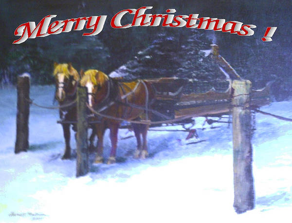 Greeting Card Art Print featuring the painting Merry Christmas Sleigh by Harriett Masterson