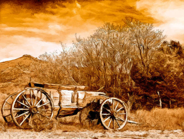 Antique Wagon Art Print featuring the painting Antique Wagon by Bob and Nadine Johnston