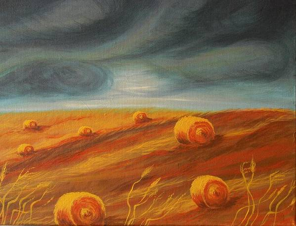 Landscape Art Print featuring the painting Autumn Storm by Jana Caissie