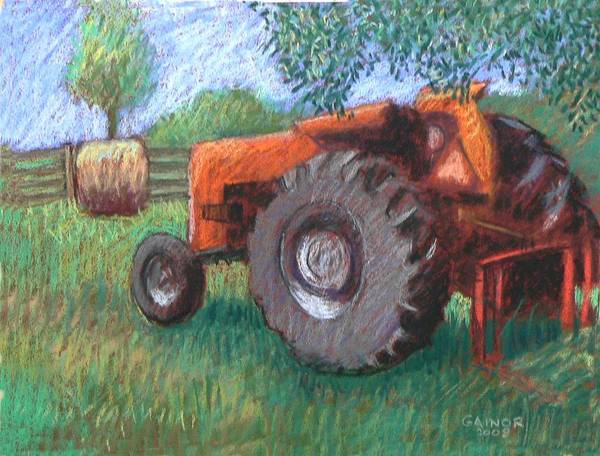 Tractor Art Print featuring the painting Farm Relic by Gainor Roberts