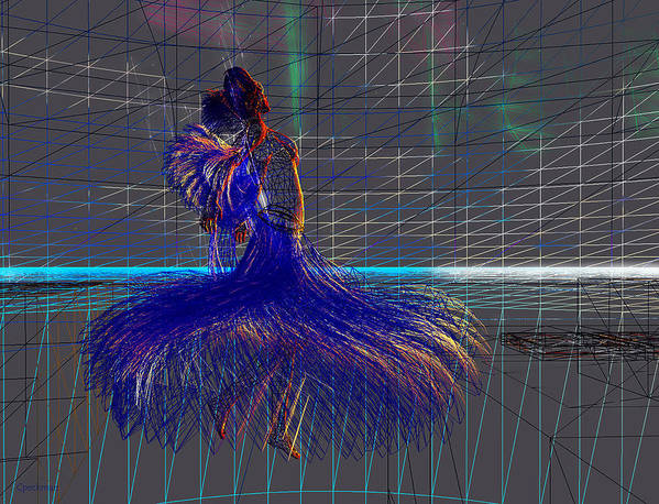 Wire Frame Art Print featuring the digital art Dance At Dawn by Constance Peckman