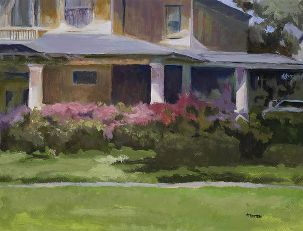 House Art Print featuring the painting House With Azaleas by Jimmie Trotter