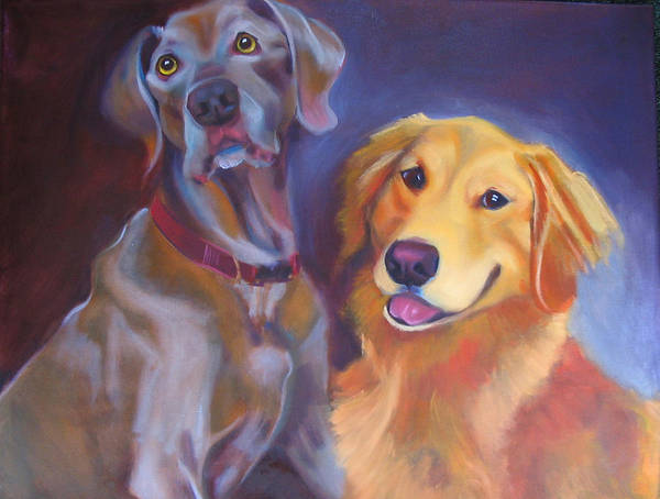 Dog Portrait Art Print featuring the painting Maddy And Teddy by Kaytee Esser
