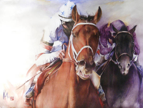 Race Horse Art Print featuring the painting Neck And Neck by Alan Kirkland-Roath