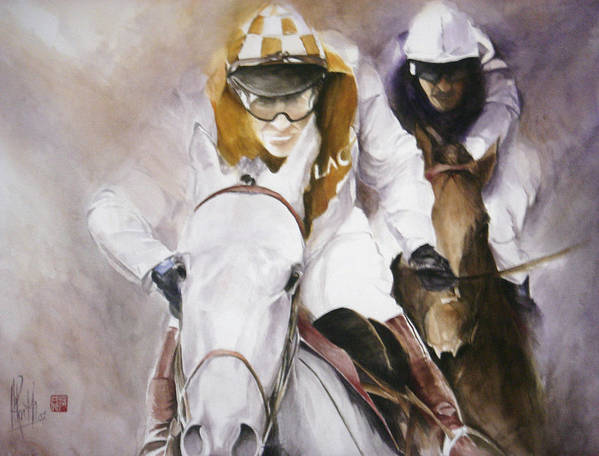 Race Horse Art Print featuring the painting Rooster Booster by Alan Kirkland-Roath