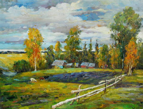 Landscape Art Print featuring the painting The Old Farm by Imagine Art Works Studio