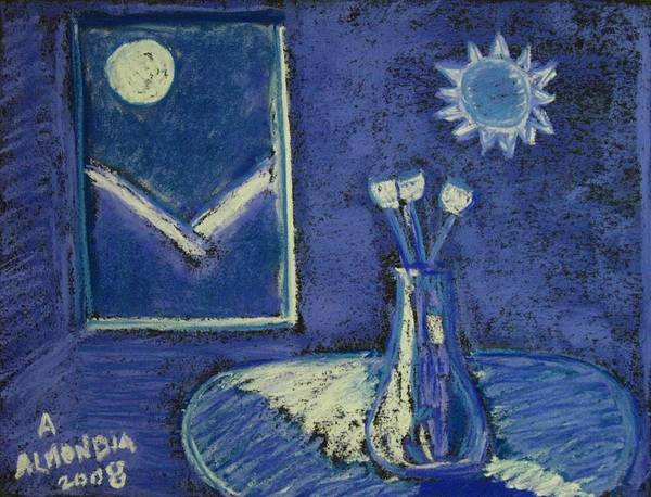 Tulips Art Print featuring the painting Tulips By Moonlight - Blue Notes Version by Albert Almondia