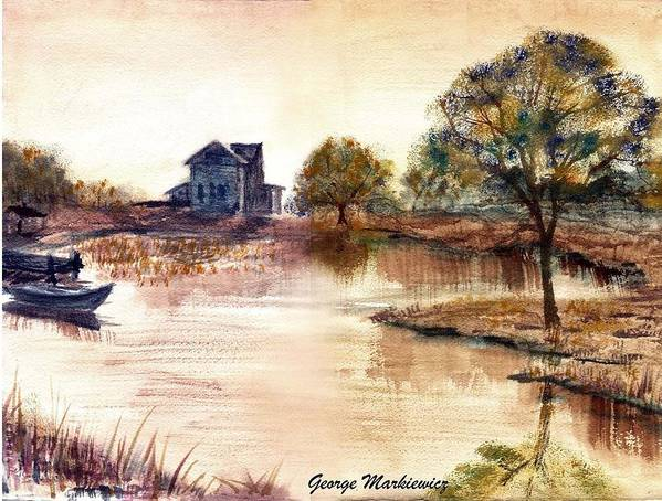 Water Landscape Art Print featuring the print Old Time Mural by George Markiewicz