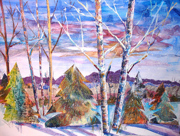 Landscape Art Print featuring the mixed media Winter Day by Joyce Kanyuk