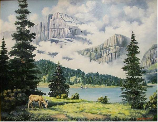 Landscape Art Print featuring the painting Morning At The Glacier by Wanda Dansereau
