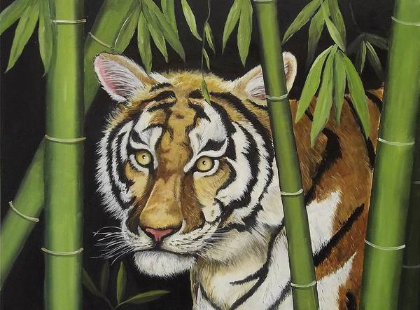 Tiger Print featuring the painting Hiding In The Bamboo by Wanda Dansereau