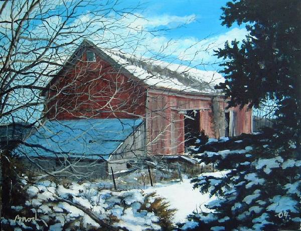Barn Art Print featuring the painting Parker Road Barn by William Brody