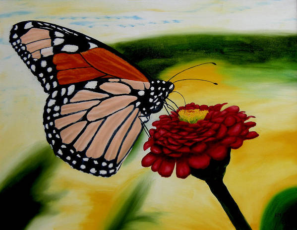 Butterfly. Flowers. Garden. Realism. Art Print featuring the painting Monarch by Ivan Rijhoff
