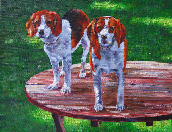 Beagle Art Print featuring the painting Better View by Karen Peterson