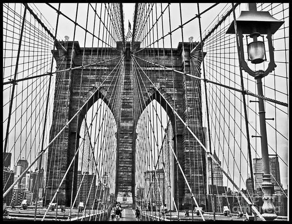 Brooklyn Bridge Art Print featuring the photograph Black And White Brooklyn Bridge by Allan Einhorn