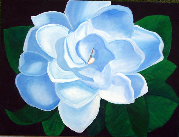 Flowers Art Print featuring the painting Blue Gardinia by Marcia Paige