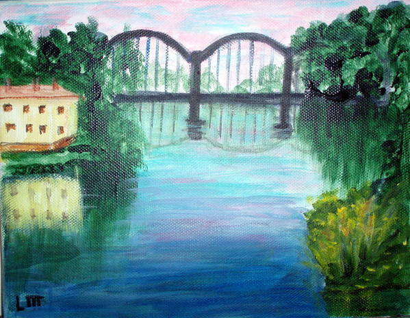 Landscape Art Print featuring the painting Bridge On The River Adda by Lia Marsman