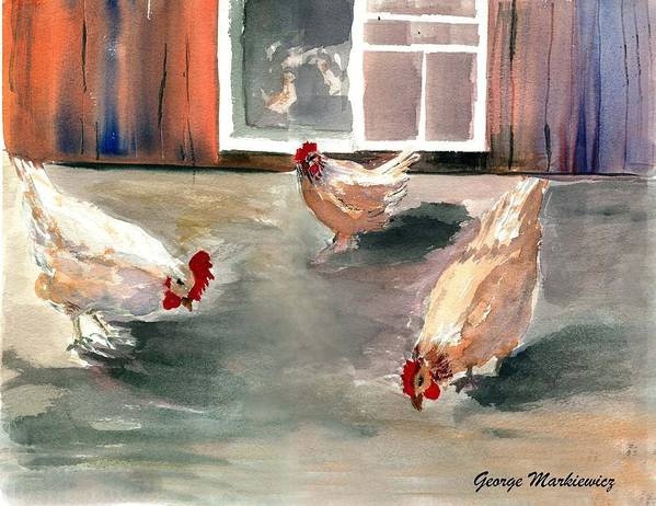 Farm Aniimals Art Print featuring the print Chickens In The Barnyard by George Markiewicz