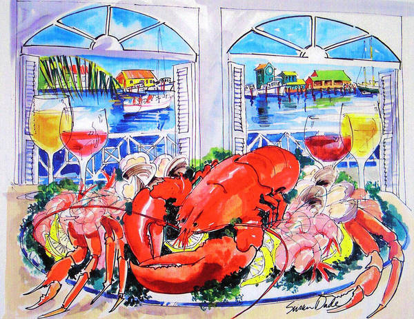 Food Art Print featuring the painting Harborside by Susan Dade