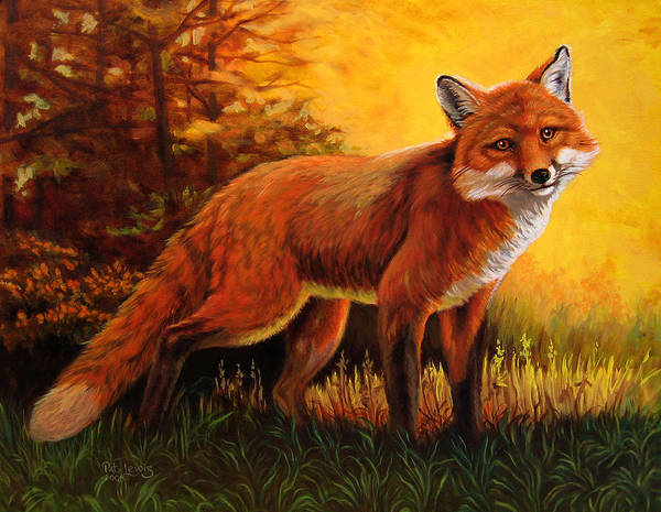 Animals Art Print featuring the painting Lone Fox by Pat Lewis