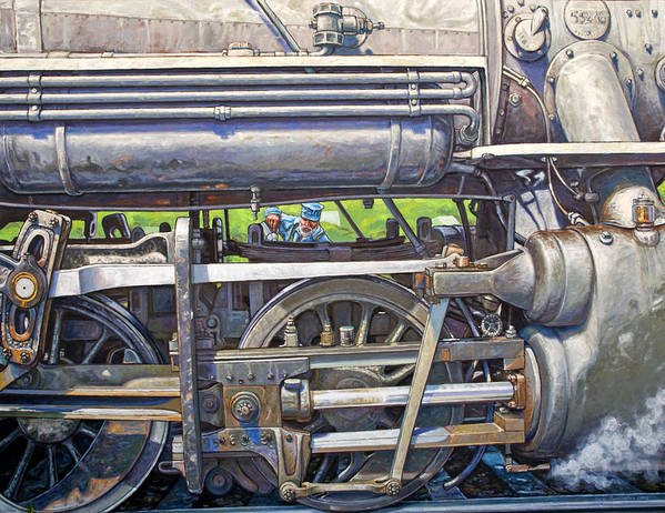 Train Art Print featuring the painting Oiling The 28 by Gary Symington