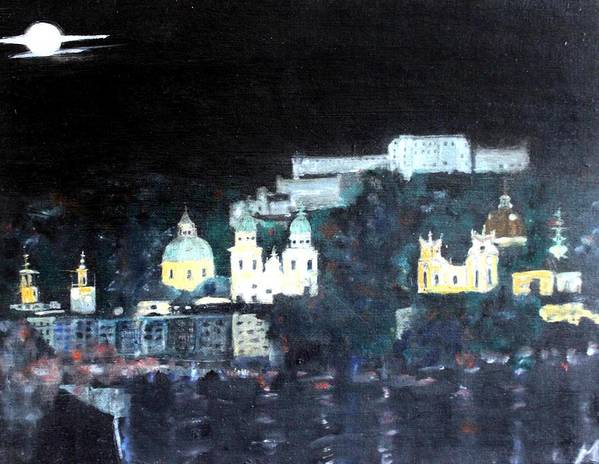 City Art Print featuring the painting Salzburg In Moonlight by Michela Akers