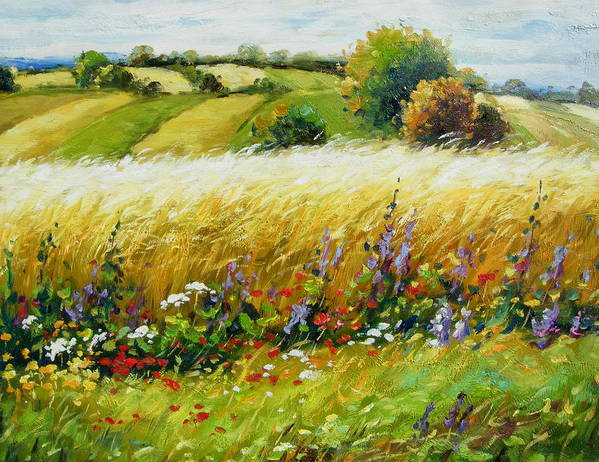Landscape Art Print featuring the painting Wild Flowers by Imagine Art Works Studio